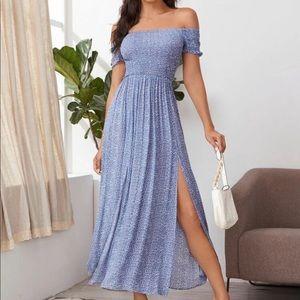 Boho floral shirred off shoulder thigh slit dress